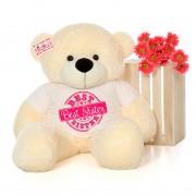 4 feet big peach teddy bear wearing Best Sister T-shirt