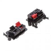 ELECTROPRIME® 10 Pieces Black Red 2 Position 2 Terminals Spring Clip Speaker Terminal