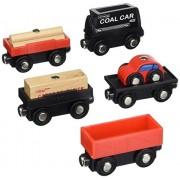 Orbrium Toys Cargo Train Car Set for Wooden Railway Fits Thomas Chuggington Brio 8-Piece