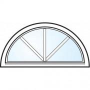 Dörrtema Fönster 3-glas energi argon halvmåne med spröjs vitmålat öppningsbart Modul 10x5