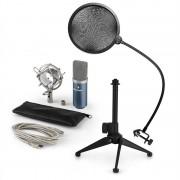 Auna MIC-900BL, USB микрофонен комплект, кондензаторен микрофон + pop-filter + стойка за маса (60001943-V2)