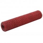 vidaXL piros PVC-bevonatú acél csirkeháló drótkerítés 25 x 0,75 m