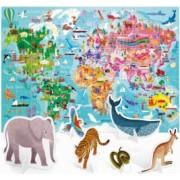 Puzzle Headu - Turul lumii 108 piese cu animale 3D