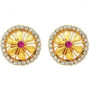 Memoir Gold plated flower shape white and red cz studded Ethnic Traditional round stud earrings for Women