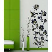Wall Stickers Flowers Self-Adhesive Vintage Floral Black Vertical Design And Leaves Vinyl
