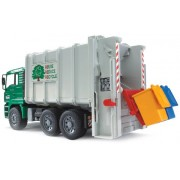 Bruder 2764 MAN TGA Rear Loading Garbage Truck, Green/White