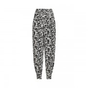 Polo Ralph Lauren Floral-Print Silk-Blend Trousers - Black/White Frame W/ Grey - Size: UK 4