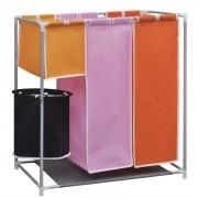 vidaXL Текстилен троен разделител за сортиране на пране с кофа за миене