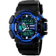 V-Luma Skmei Dual Time Black Blue Sports Analog Digital Watch for Men And Boys