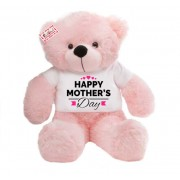 2 feet big pink teddy bear wearing Happy Mothers Day hearts T-shirt