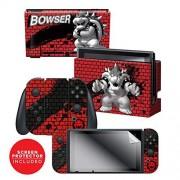 "Controller Gear Nintendo Switch Skin & Screen Protector Set Super Mario ""Bowser Bricks"" Nintendo Switch"