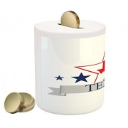 Texas Star Coin Box Bank by Ambesonne, San Antonio Dallas Houston Austin Map with Stars Pattern USA, Printed Ceramic Coin Bank Money Box for Cash Saving, Navy Blue Vermilion Pale Grey