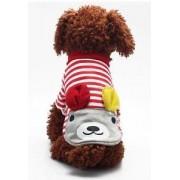 Alcoa Prime Pet Puppy Doggie Striped Clothes Apparel Costume Cute Bear T-Shirt Red L