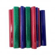 Batoane lipici Rapid Oval 9mmx94mm sclipici rosu albastru verde 125g blister