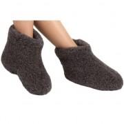 Woolwarmers Warme wollen zwarte sloffen/pantoffels met suede zooltjes