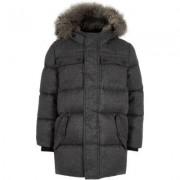 River Island Boys Grey faux fur hood puffer coat