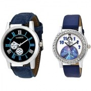 Laurex Analog Leather Watches for Lovely Couple Combo-LX-059-LX-148