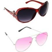 Hrinkar Round Sunglasses(Grey, Pink)