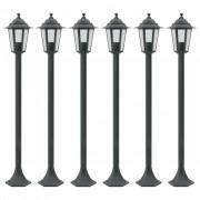 vidaXL Градински стълбове, 6 бр, E27, 110 см, алуминий, тъмнозелено