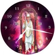3d brown sai baba wall clock