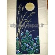Tenugui peint avec des motifs de fleurs de Gentiane japonaise