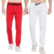 Cliths Pack of 2 Men's Cotton Stylish Trackpants/ Running Joggers/ Lowers For Men (White Black Red Black)