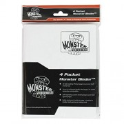 Monster Binder - 4 Pocket Trading Card Album - Matte White (Anti-theft Pockets Hold 160+ Yugioh, Pok