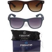 Fashno Combo of Unisex Brown and Black Frame Brown and Grey Lens Wayfarer U.V Protected Sunglasses(FCMSGN22)