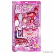 D C 18 Piece Barney's Dream Girls Beauty Kit Sets Like Hair Brush,Hair Dryer,Curl Maker,Lipstick,Mirror Etc. - Toy for Girls (Multi Color)