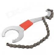 Bicicleta carbono acero llave con cadena - plata + rojo