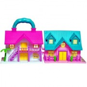 New Pinch Mini Foldable Twin-Sided Doll House with Toy Accessories (Multicolor)