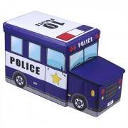 IDIMEX Tabouret enfant avec rangement POLICE bleu