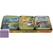 L.S.N.40000 Levendula szappan szett S/3,100gr,shea vajjal és oliva olajjal,Provence fémdobozban