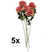 Bellatio flowers & plants 5x Roze roos kunstbloem Simone 45 cm