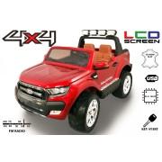 Mașinuță electrică de lux pentru copii Ford Ranger Wildtrak, 4x4 LCD, ecran LCD, vopsită, 2.4 Ghz, 2x12V, 4x Motoare, telecomandă, două scaunde de piele, roți ușoare Eva, Radio FM, Bluetooth, roșu