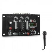 Resident DJ DJ-21 BT Mesa de mezclas DJ Set de mezcla Bluetooth USB Micrófono Negro (PL_DJ21BT_plus_MIC)