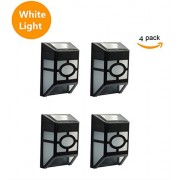 HKYH Waterproof Solar Powered 2 LED Wall Light, for Outdoor Landscape Garden Yard Lawn Lighting & Decoration (4 pcs)