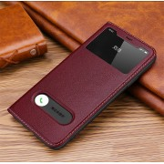 View Window Stand Genuine Leather Phone Case for iPhone 11 Pro Max 6.5 inch - Wine Red