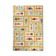 Aerial Beach Scene - Ladies on Towels (12x18 Premium Acrylic Puzzle, 130 Pieces)
