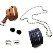 Set of 5 Salman Khan Silver Bali With Pair of Magnet 8mm Stud 1 Heavy Steel Ball Chain & 2 Mens Bracelet/Cuff