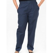 Seniors' Wear Elastic Waist Blue Ladies Pants - Blue 12
