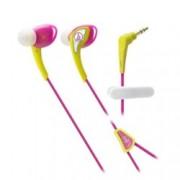 "Слушалки Audio-Technica ATH-SPORT2, тип ""тапи"", ІРХ5 водоустойчивост, 1.2м асиметричен кабел, жълти-розови"