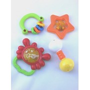 Baby Rattle Teether and Toy Set from R-Kids. 4 Fun and Colorful Toys. These Quality Rattles will Promote Hand-Eye Coordination and Sensory Stimulation that will Entertain for Years