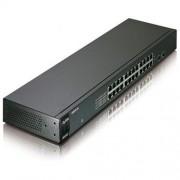 "Switch Zyxel GS1100-24, 24-port 10/100/1000Mbps Gigabit Ethernet switch 2x open SFP, Fanless, 802.3az (Green), 19"" rackmount"