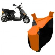 AutoAge Orange with Black Two Wheeler Cover For Electric Wave Dx Hero Electric Bikes