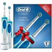 Set 2 Periute de dinti electrice Oral-B Vitality Cross Action 2D reincarcabila 1 program 2 capete Alb-Albastru