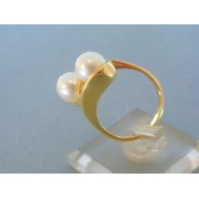 Zlatý prsteň žlté zlato dve perličky VP57606Za