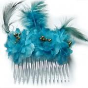 Peineta con flores y pluma color azul