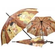 H.C.021-6504 Esernyő 100cm,Klimt:The Kiss/Adele,barna