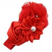 ELENXS del pelo del bebé niña de las flores Banda Perla Headwear para 3-36 Meses elástico magnífico suave práctica recién nacido Rojo